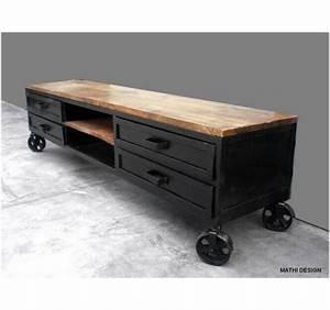 Meuble Industriel Vintage : meuble tv industriel sur roues ~ Nature-et-papiers.com Idées de Décoration
