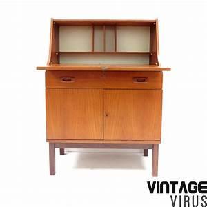Vintage Secretaire Bureau Met Klep Lade En 2 Deurtjes
