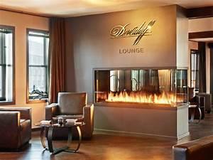 Custom Peninsula Fireplace - Davidoff Cigar Lounge