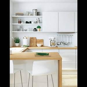best 20 cuisine blanche et bois ideas on pinterest With cuisine blanche plan de travail bois