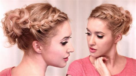 curly updo hairstyle tutorial knotted braid for medium hair