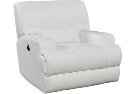 galiano white leather power recliner reclining