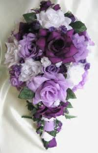 silk flowers for wedding free shipping wedding bouquet bridal silk flowers cascade plum purple lavender white decorations