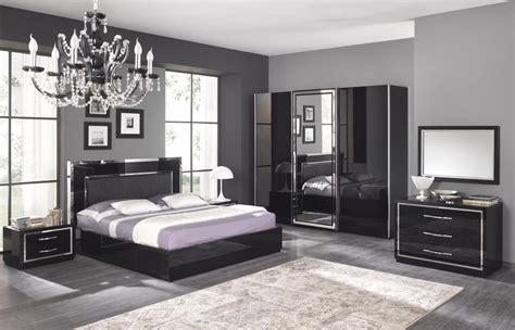 decor de chambre a coucher adulte chambre adulte complète design stef coloris noir laqué