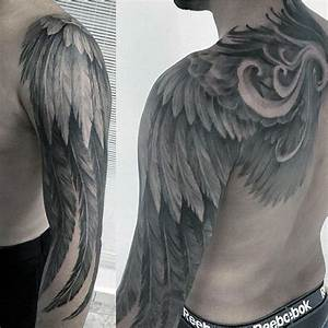 Angel Wing Feathers Awesome Mens Hafl Sleeve Tattoos ...