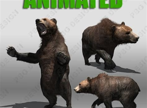 grizzly bear animated  model game ready animated rigged