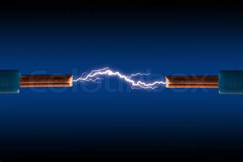 Gesits Electric Hd Photo by Electric Cable With Sparks On A Black Background Stock
