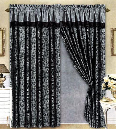black grey flocking leopard satin window curtain drape set
