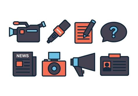 journalist icon set   vectors vector