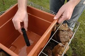 wasserspiel gabionen brunnen wasser im garten teich With französischer balkon mit garten springbrunnen selber bauen