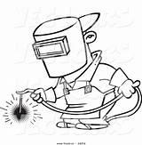 Welder Coloring Cartoon Welding Drawing Outlined Toonaday Sketch Leishman Ron Note Vecto Rs Getdrawings Standard Template sketch template