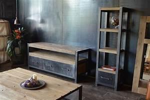 Sejour Style Industriel : meubles de style industriel bois vieilli acier industriel salle de s jour angers par ~ Teatrodelosmanantiales.com Idées de Décoration
