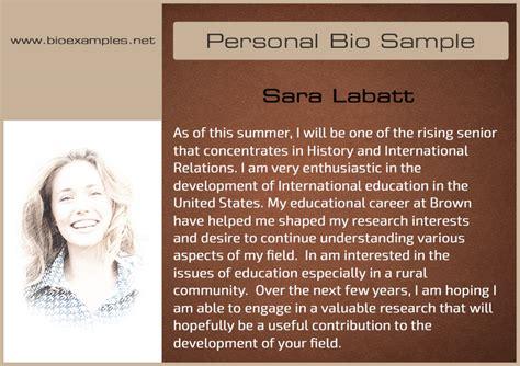 personal bio template personal bio sles bio exles