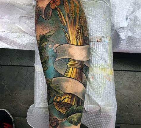 wheat tattoo designs  men cool crop ink ideas