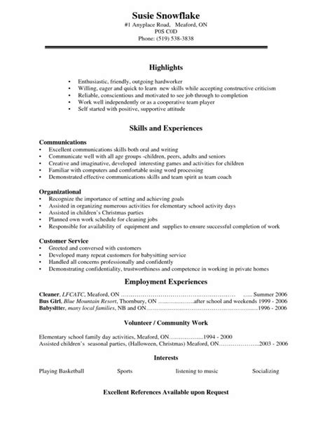 resume exles for high school students sle