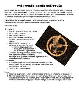 hunger games culminating  pager   eae tpt