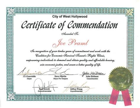 hollywood certificate  commendation