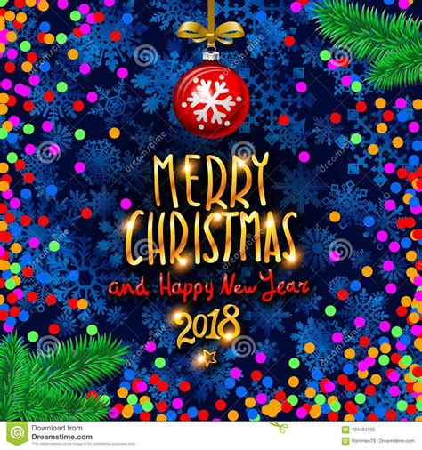 Gold Merry Christmas And Happy New Year Background With
