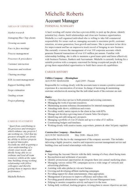 Sle Advertising Account Manager Resume by Account Manager Cv Template Sle Description Resume Sales And Marketing Cvs
