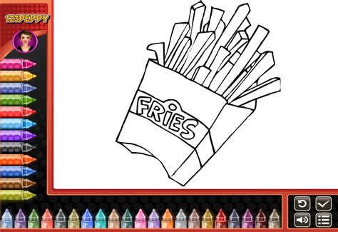 French Fries Coloring Pages For Kids