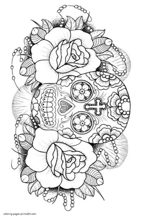 Sugar Skull Coloring Book For Adults | Skull coloring