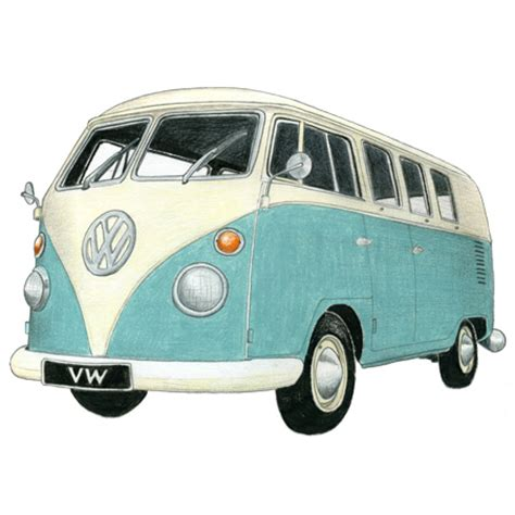 volkswagen bus drawing vw cer drawing limited edition print drawing of a