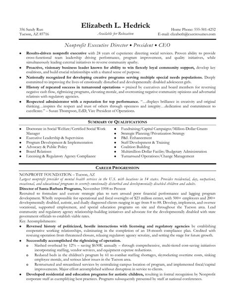 Executive Director Resume Non Profit Sle by Non Profit Executive Director Resume Sles Of Resumes