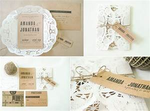 rustic romance wedding invitations doily kraft paper With wedding invitations using paper doilies