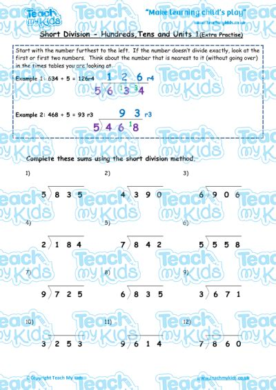 division worksheets htu by u division htu 1 practise teach my