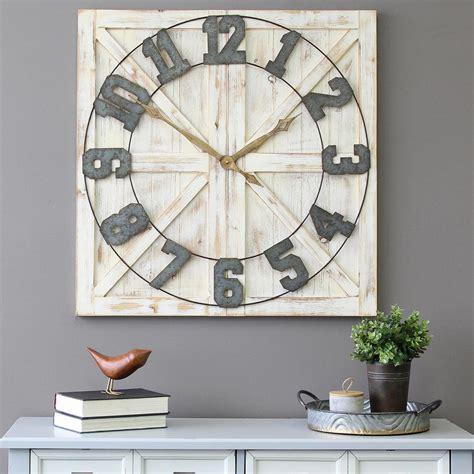 home decor clock stratton home decor white rustic farmhouse wall clock