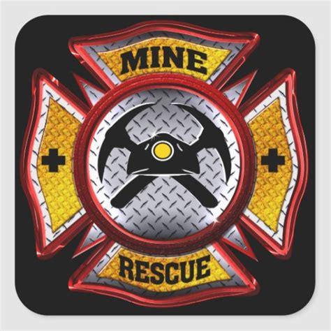 mine rescue square sticker zazzle