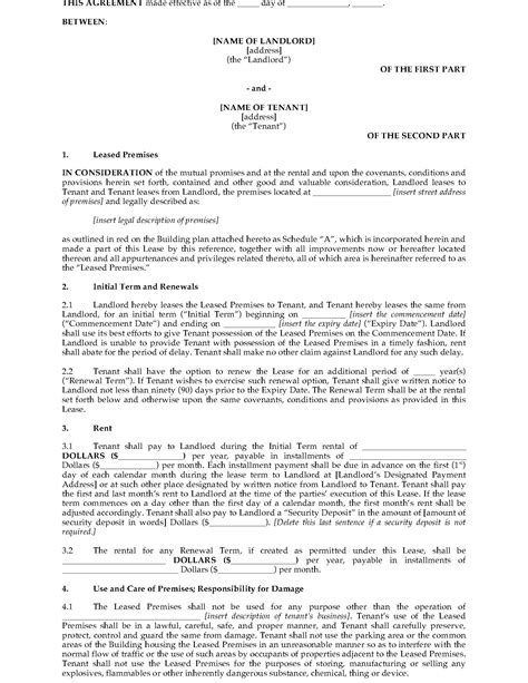 Alberta Standard Form Commercial Lease | Legal Forms and