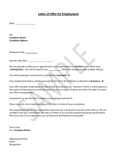 job offer letter sample dubai employment india company
