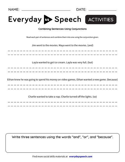 Combining Sentences Using Conjunctions  Everyday Speech  Everyday Speech