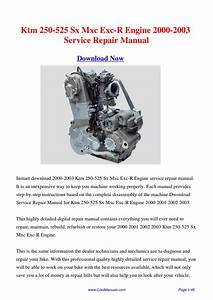 Download Ktm 250-525 Sx Mxc Exc-r Engine 2000-2003 Workshop Manual By Hong Ling