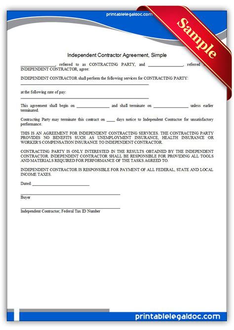 printable independent contractor agreement simple