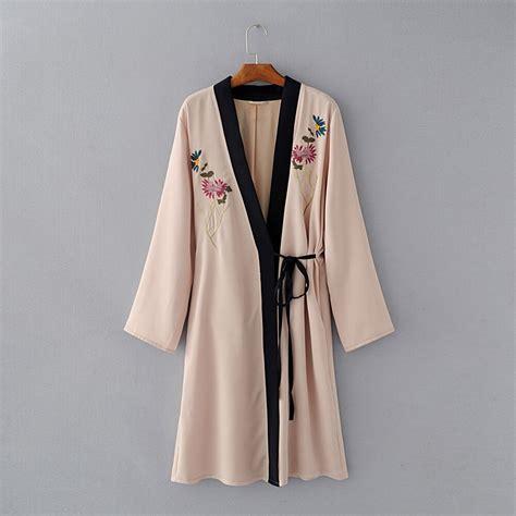 2017 fashion tiger floral embroidery sashes kimono cardigan v neck split sleeve lace