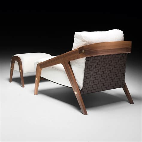 Bedroom Chair And Footstool by Italian Designer Contemporary Walnut Arm Chair And