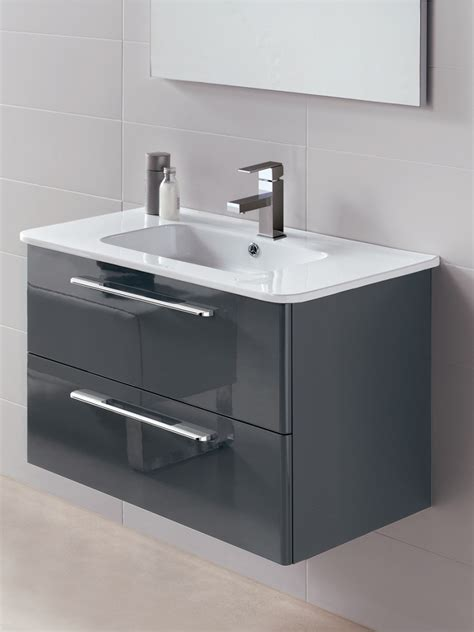 home mara gloss grey cm vanity unit  basin