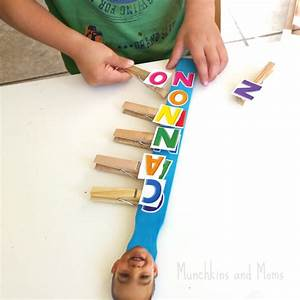 clothespin name recognition activity munchkins and moms With clothespin letters