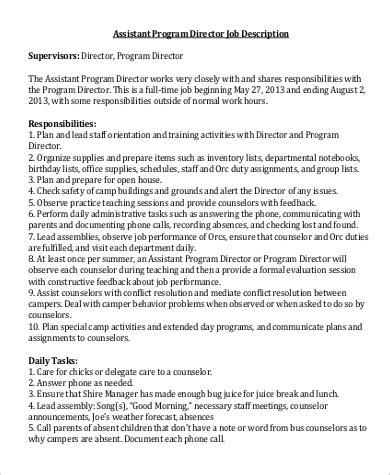 assistant director description sle 9 exles in word pdf