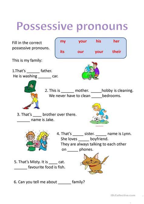 possessive pronouns worksheet  esl projectable