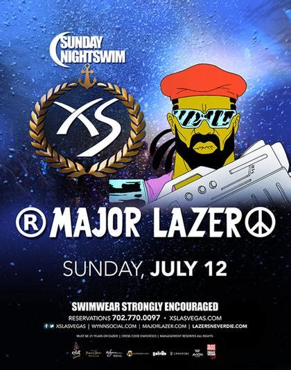 Xs Nightswim Dress Code Major Lazer Sunday Nightswim At Xs Nightclub On Sunday