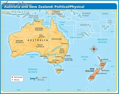 physical map  australia   zealand travelsfinders