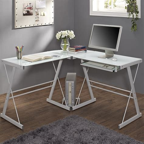 glass corner computer desk white glass corner computer desk small corner desk