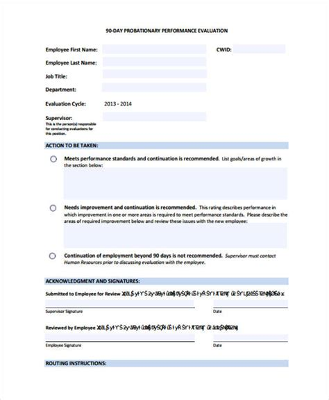 sample employee evaluation forms   ms word