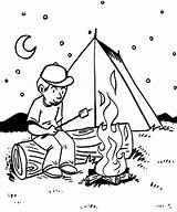 Coloring Campfire Camping sketch template