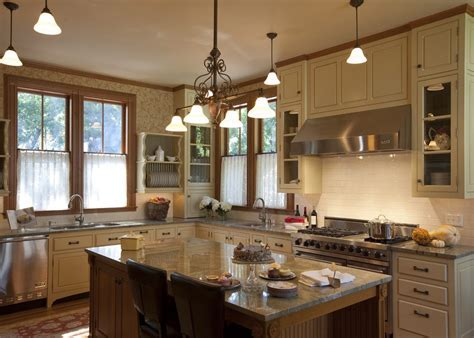 mixing wood and painted cabinets kitchen traditional with