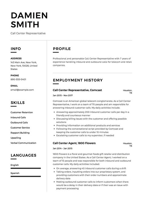 Resume Generator Free by Call Center Representative Resume Sle Template