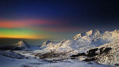 Mountains Rainbow Sunset Sky Colored Colors Wallpapers